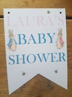 Personalised Baby Shower Peter Rabbit Flopsy Bunting Beatrix Banner Unisex