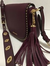 NEW Michael Kors Brooklyn Medium Saddle Plum Leather Crossbody Handbag $398