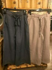 Sold as PAIR New Cloth & And Stone Pants Sz S Palazzo Cropped Wide Leg Linen NEW