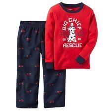 Carter's Nwt 12M Baby Boy Cotton Fleece 2Pc Pj Pajama Set Fire truck Rescue