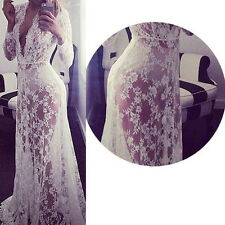 UK 8-20 Women Lace Plunge V Neck Wedding Bridesmaid Sexy Long Maxi Party Dress