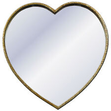 Modeled Gold Metal Heart Wall Mirror