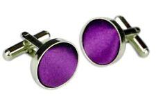 GIFTS FOR MEN Round Circular Cotton Cloth Mens Smart Silver Cufflinks Purple