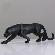 Modern Geometric Black Leopard Statue Resin Animal Figurine Home Decor Sculpture