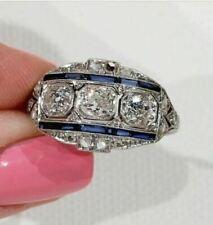 Vintage Art Deco Engagement Ring 2.40 Ct Diamond & Sapphire 14K White Gold Over