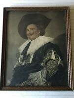 "Antique Laughing Cavalier Portrait Print w/Wooden Frame, 15 1/2"" x 20"" (Image)"