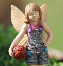 Fairy Kyli holding a Basketball  WS 1667 Miniature Fairy Garden Dollhouse