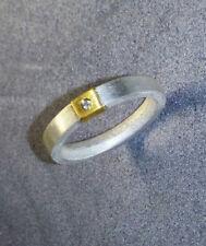 Ring Silber 999, Feinsilber,  weisser Diamant, FLAMERE. Galerie Schmuck