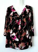 WOMEN'S EAST 5TH BLACK ABSTRACT FLORAL 3/4 SLEEVE LIQUID KNIT TOP PLUS SIZE 1X