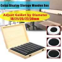 Wooden Coins Display Storage Box Case + 100 Grids Round Slab Certified Capsule