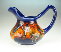 70er Keramik Neo Jugendstil Krug Laufglasur wie Vallauris ceramic running glaze