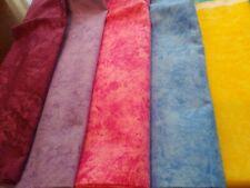 6 LOT Batik Purple It Purple Pink Blue Yellow Aqua cotton fabric Scrap Sew/Masks