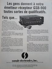 5/1974 PUB SUNAIR ELECTRONICS EMETTEUR RECEPTEUR GSB-900 ORIGINAL FRENCH AD