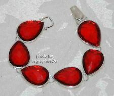 Red Hat Tear Drop Bracelet / Red Gems / Silver-tone / Magnetic Closure