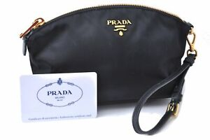 Authentic PRADA Nylon Leather Pouch Black C4901