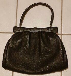 Handtasche, Kelly Bag, echt Straußenleder. Schwarz. Vintage: 30er/40er Jahre.