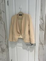 Zara Woman Women's Beige Open Front Blazer Jacket Size Medium