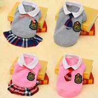 Small Dog Outfit Clothes Cute Pet School Style Costume Puppy Sweater Coats Dress