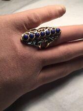 Vintage Tribal Genuine Blue Lapis Lazuli Stone Size 7.25 Brass Ring