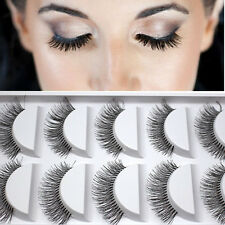 5Paar Natürliche lange falsche Wimper Augen Wimper Verlängerungs Makeup Schwarz!