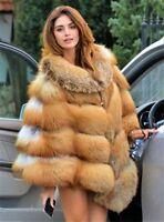Luxury Genuine Women Full Pelt Real Vulpe Red Fox Fur Coat Cape Poncho Overcoat
