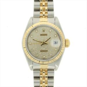 Rolex Ladies Oyster Perpetual Datejust Bi Metal Diamond 69173 RW0360 Papers 1992