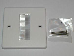 White Brush Stripe Cable Entry Single Gang Wall Face Plate White Brushes