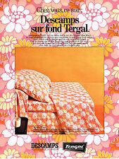 PUBLICITE ADVERTISING 064  1969  DESCAMPS   draps TERGAL