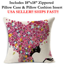 "18"" 18x18 Beautiful Black Girl Pink Love Heart Hair Zipper Throw Pillow Cushion"