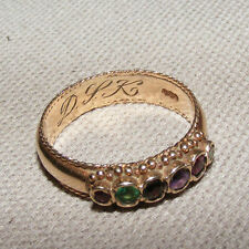 VICTORIAN ANTIQUE 9CT 9K GOLD REGARD RING SZ UK P RUBY EMERALD DIAMOND AMETHYST