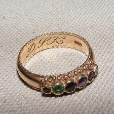 Vittoriano antico 9ct 9k GOLD riguardo RING Sz UK P RUBINO SMERALDO Diamante Ametista