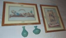 "Set Home Interior Homco (2) Southwestern Pictures 14""x19"" and (2) Jar Plaques"