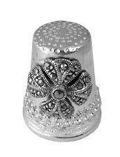 More details for celtic cross and marcasite thimble sterling silver hallmarked from ari d norman