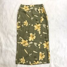 TOMMY BAHAMA Maxi Wrap SKIRT 100% SILK Tropical Hibiscus Green & Yellow Size 8