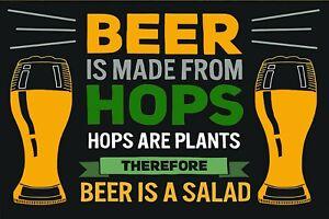 Beer is Salad Funny Humorous Vintage Style Metal Sign, garage shed man cave pub