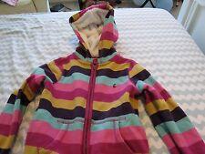 LITTLE JOULES  PINK/MULTI STRIPE hooded SWEATSHIRT  zip front 128 8