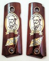 COLT 1911 custom engraved wood grips gold silver Confederate Hero General R. LEE