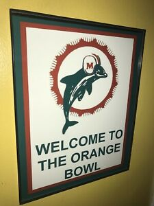 Miami Dolphins Throwback Football Stadium Game Room Bar Man Cave Sign