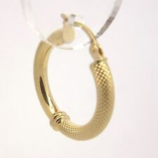 9ct Yellow Gold Half Patterned Fancy Hoop Earrings - 20mm