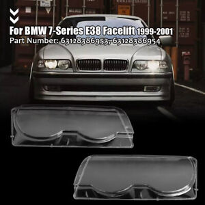 Front Headlight Lens Cover Clear Shell For BMW 7 Series E38 Facelift 1999-2001