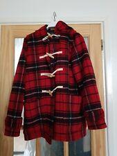 Gap L Duffle Coat Large Red Black Tartan Plaid Check Ladies Hood Toggles