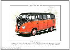 VOLKSWAGEN SPLIT-SCREEN KOMBI VW TYPE 2 - A4 Art Print - Camper Van, Transporter