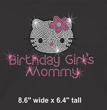 Hello Kitty Birthday Girl's Mommy iron on rhinestone transfer bling patch