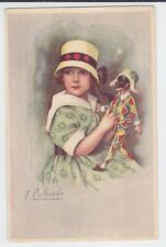 ART DECO COLOMBO SIGNED LITTLE GIRL WITH HARLEQUIN DOLL