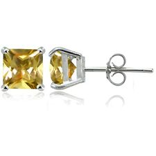 Sterling Silver Citrine 7mm Square Stud Earrings