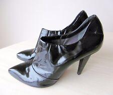 Bottines Low Boots Talons Hauts Cuir Verni Noir 39,5 COSTUME NATIONAL