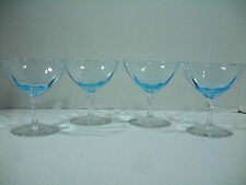 "VINTAGE FOSTORIA AZURE (BLUE) 4 ¼"" SHERBET/CHAMPANGE GLASSES – LOT OF 4 (708)"