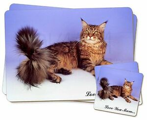 Maine Coon Cat 'Love You Mum' Twin 2x Placemats+2x Coasters Set in G, AC-16lymPC