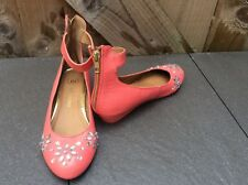 RIVER ISLAND CORAL LOW WEDGE ANKLE STRAP JEWELLED COURT EVENING/PARTY SHOES 3 UK