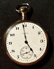 ELGIN OPEN FACE POCKET WATCH 20 YEARS GOLD FILLED DOUBLE ROLLER